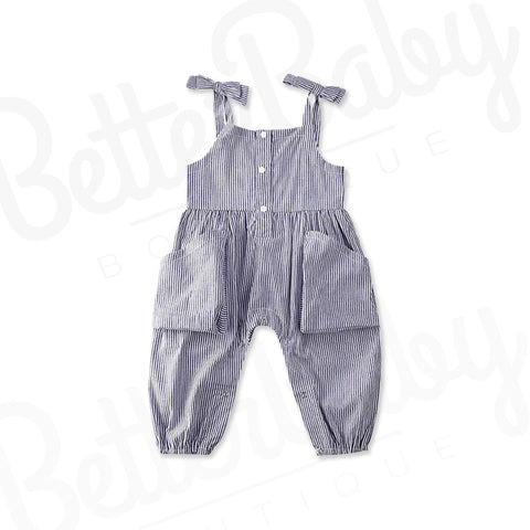 Solid Stripes Baby Girl Jumpsuit