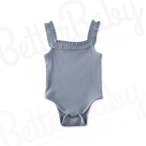 Tank Me Later Baby Romper Blue