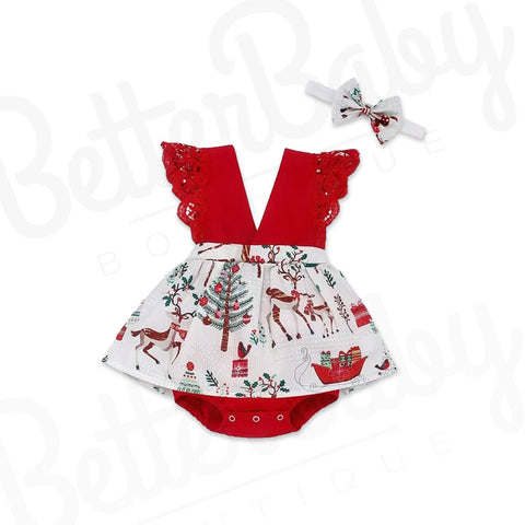 Winter Wonderland Baby Romper And Bow