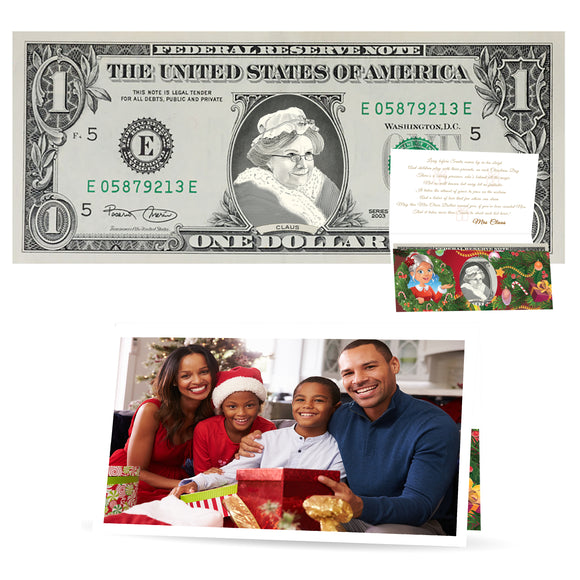 The Official Santa Claus Dollar Bill With Custom Personalized Christmas Card. Real USD. Bankable and Spendable