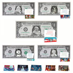 Christmas Dollar Variety Package! 5 Different Real 1.0 USD Christmas Dollars and Currency Cards. Perfect Christmas Stocking Stuffer!