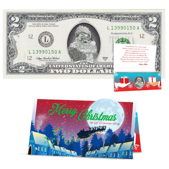 Official Santa Claus 2.0 Bill. Real USD. Bankable & Spendable. Perfect Stocking Stuffer. Letter From Santa Gift Package Affordable Gift.