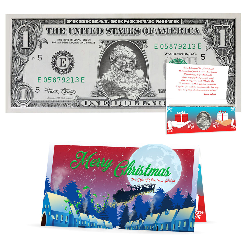 Santa Claus Dollar Bill Perfect Stocking Stuffer Complete Gift Christmas Gift Package with Holiday Greeting Card. Affordable Christmas Gift