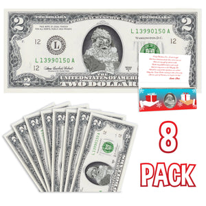 Santa Claus 2.0 USD Dollar Bill Gift Package with Holiday Greeting Card. Affordable Christmas Gift. 8 cards and 8 2.0 USD Dollar Bills