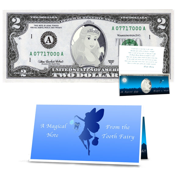 Tooth Fairy Gift: Official Tooth Fairy 2.0 Dollar Bill. Real USD. Bankable and Spendable. Complete Gift Package with Tooth Fairy Letter