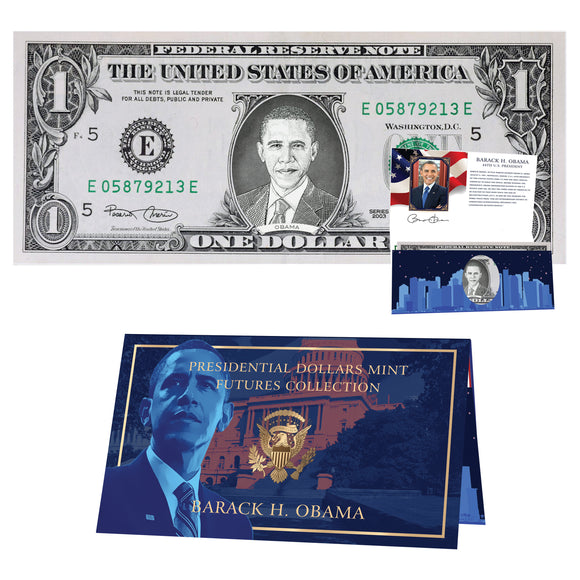 Barack Obama Dollar Bill w/ Official Currency Card - REAL USD!