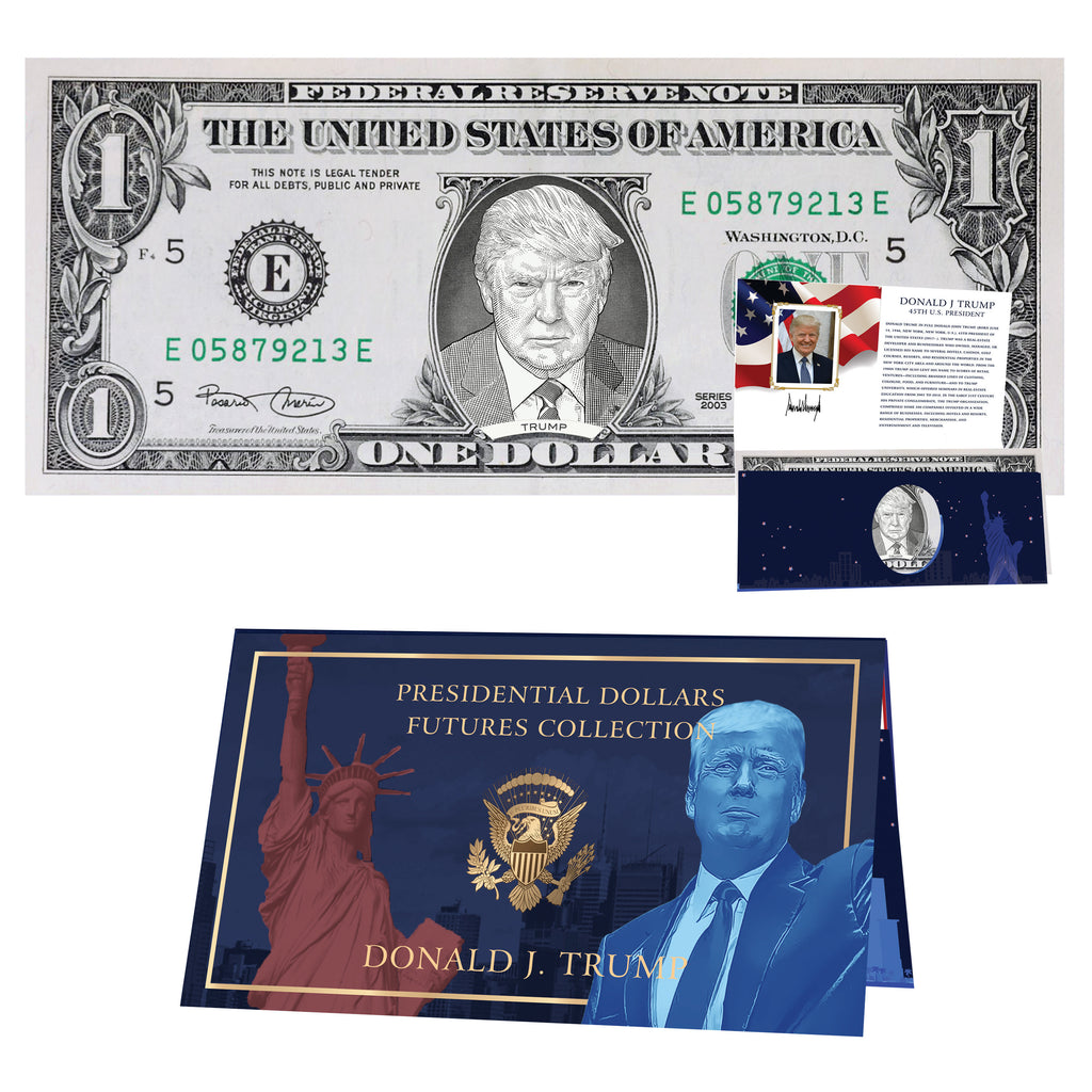 Donald Trump Official Dollar Bill w/ Presidential Currency Card. Presidential Futures Collection - REAL USD!