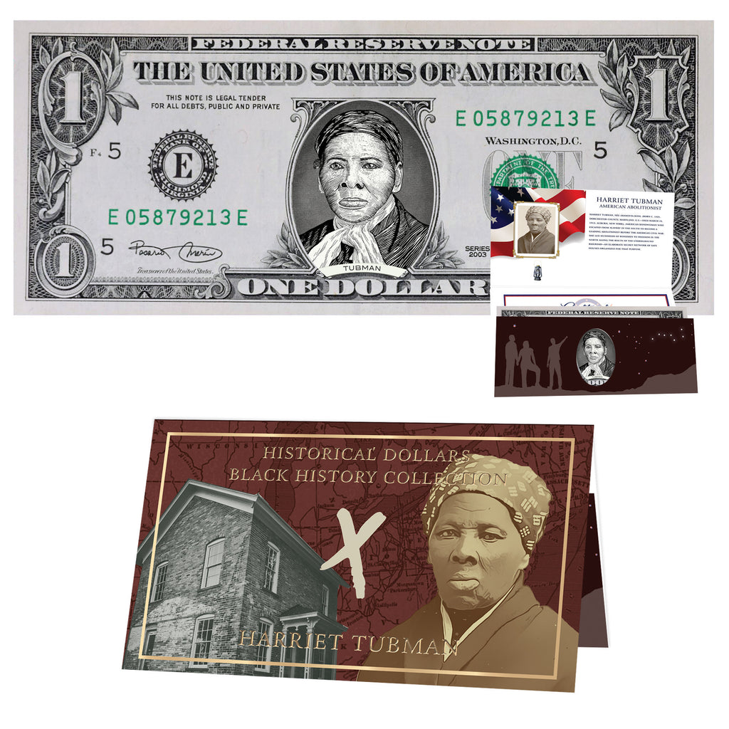 Official Harriet Tubman Dollar Bill w/ Official Currency Card - REAL USD!