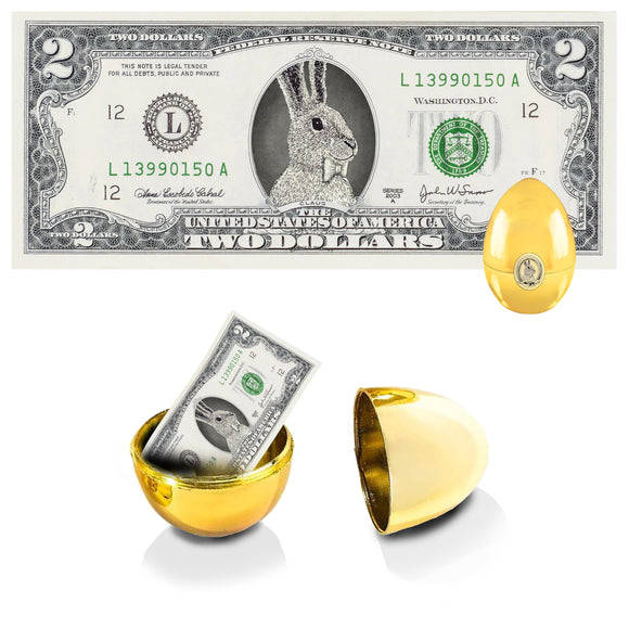 The Official Easter Bunny Dollar Bill with Golden Egg. Real 2.0 USD. Bankable & Spendable. Easter Basket Stuffer/Filler.