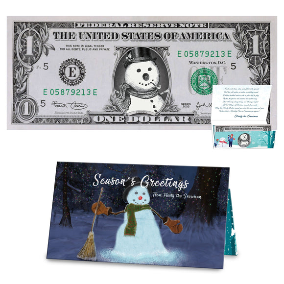 Frosty the Snowman Dollar Bill Stocking Stuffer Complete Gift Christmas Gift Package with Holiday Greeting Card. Affordable Christmas Gift