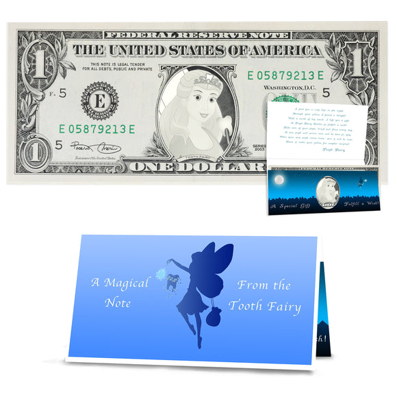 Tooth Fairy Gift: Official Tooth Fairy Dollar Bill. Real USD. Bankable and Spendable. Complete Gift Package including a Tooth Fairy Letter