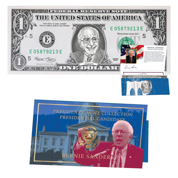 Bernie Sanders Official Dollar Bill w/ Presidential Currency Card. Presidential Futures Collection - REAL USD!
