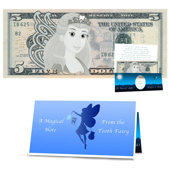Tooth Fairy 5.0 Dollar Bill Tooth Fairy Gift withTooth Fairy Letter/Card. REAL USD. The Complete Tooth Fairy Visit Gift Package