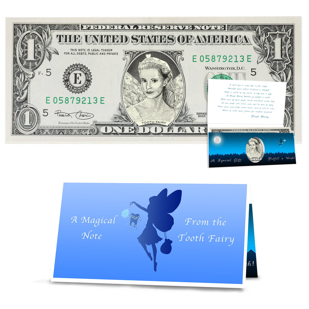 The Official Tooth Fairy Dollar Bill Gift. Real 1.0 USD. Bankable and Spendable. Complete Gift Package including a Tooth Fairy Letter