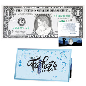 The Official Father's Day Dollar Bill. Real 1.0 USD. Each Bill Comes with a Father's Day Card, Currency Holder and Thank You Dad Poem