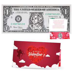 The Official Valentine's Day Cupid Dollar Bill. Real 1.0 USD. Bankable & Spendable. Comes with Valentine's Day Card and Currency Holder.