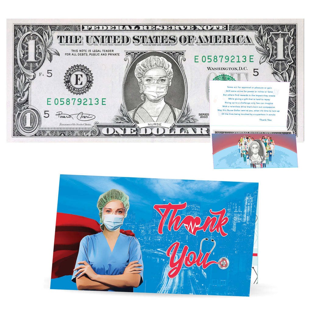 Thank You Healthcare Workers Nurse Dollar Bills and Greeting Card. Genuine 1.0 USD!  Nurse Appreciation, Doctor Appreciation