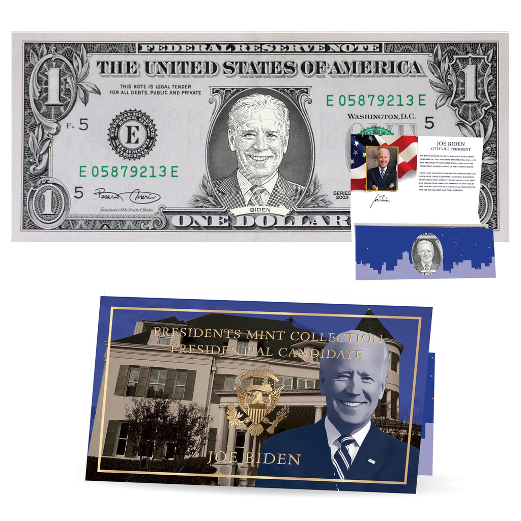 Joe Biden Dollar Bill w/ Official Currency Card - REAL USD!