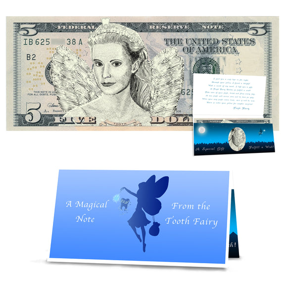 Tooth Fairy 5.0 Dollar Bill Tooth Fairy Gift - Realistic Portrait withTooth Fairy Letter/Card. REAL USD. The Complete Tooth Fairy Visit Gift