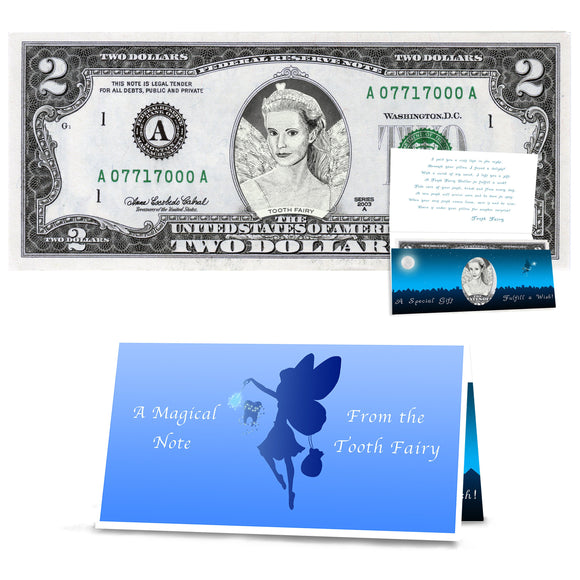 Tooth Fairy Gift: Official Tooth Fairy 2.0 Dollar Bill - Realistic . Real USD. Bankable and Spendable. Gift Package with Tooth Fairy Letter
