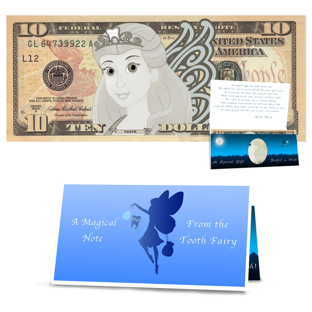 Tooth Fairy 10.0 Dollar Bill Tooth Fairy Gift withTooth Fairy Letter/Card. REAL USD. The Complete Tooth Fairy Visit Gift Package