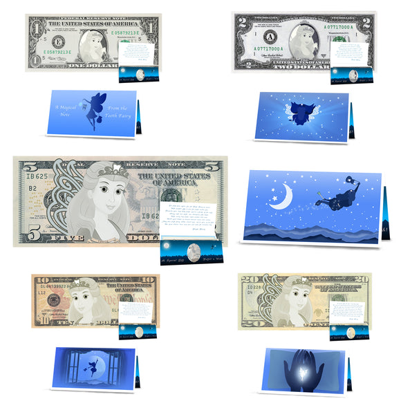 Tooth Fairy Dollar Bills Gift Package: Milestone Kit. 1st, 2nd, 5th. 10th and 20th Lost Teeth Collectable Tooth Fairy Dollars. All Real USD
