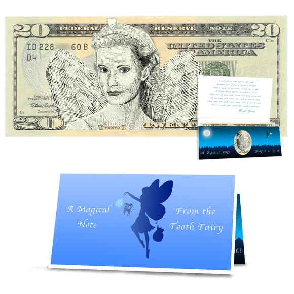 Tooth Fairy 20.0 USD - Realistic Portrait. Tooth Fairy Visit Gift for Boys and Girls. Complete Tooth Fairy Gift Package