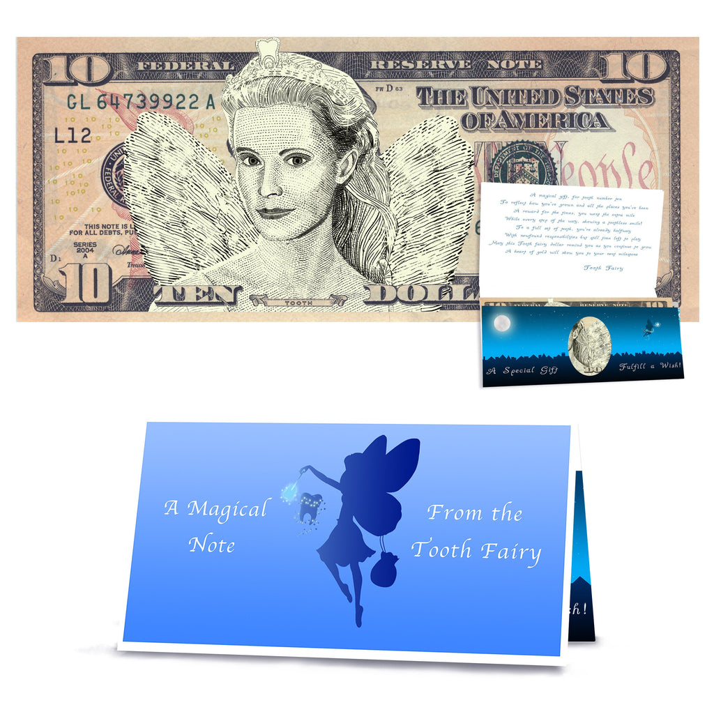 Tooth Fairy 10.0 Dollar Bill Realistic Portrait Tooth Fairy Gift with Tooth Fairy Letter. REAL USD. The Complete Tooth Fairy Gift Package