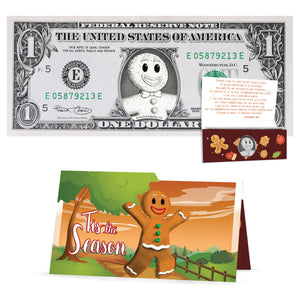 Gingerbread Man 1.0 USD Dollar Bill. Perfect Stocking Stuffer Complete Gift Christmas Gift Package with Holiday Greeting Card.