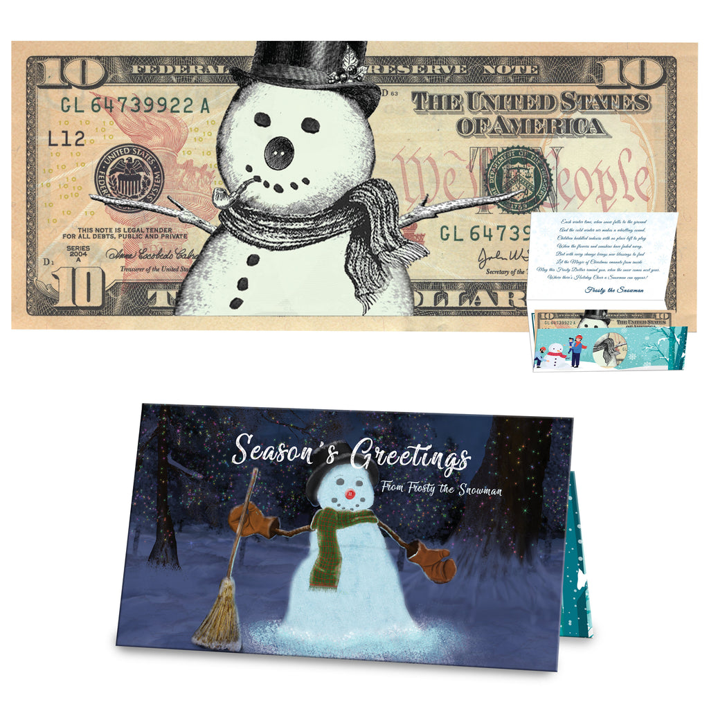 Frosty the Snowman 10.0 Dollar Bill Stocking Stuffer Complete Christmas Gift Package with Holiday Greeting Card. Affordable Christmas Gift
