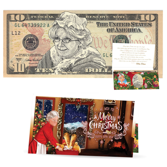 Mrs. Claus 10.0 Dollar. Perfect Stocking Stuffer Complete Gift Christmas Gift Package with Holiday Greeting Card. Affordable Christmas Gift