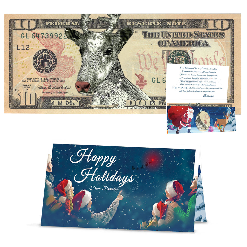 Rudolph Dollar Bill 10.0 USD Stocking Stuffer Complete Gift Christmas Gift Package with Holiday Greeting Card. Affordable Christmas Gift