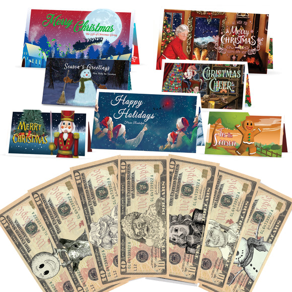 Christmas Dollars 10.0 USD Complete Gift Package with Holiday Greeting Cards. Affordable Christmas Gift. 7 cards and 10.0 USD Dollar Bills