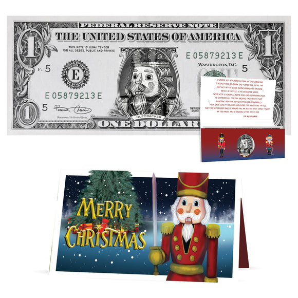 Nutcracker 1.0 USD Dollar Bill. Perfect Stocking Stuffer Complete Gift Christmas Gift Package with Holiday Greeting Card.