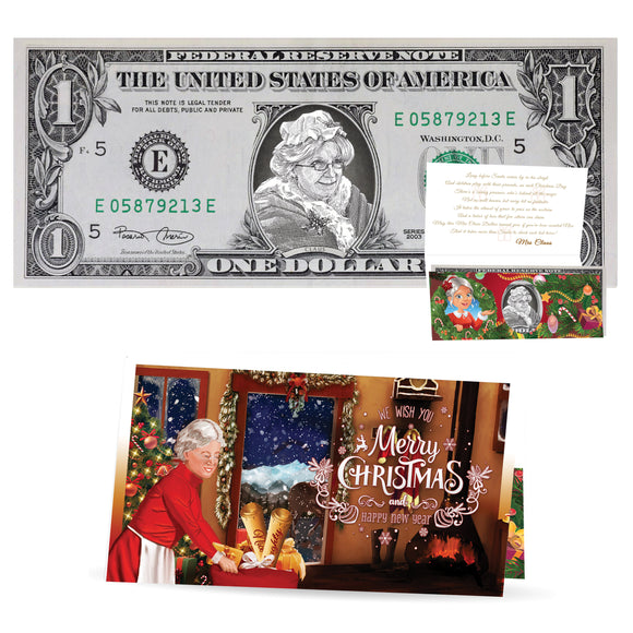 Mrs. Claus Dollar Bill Perfect Stocking Stuffer Complete Gift Christmas Gift Package with Holiday Greeting Card. Affordable Christmas Gift
