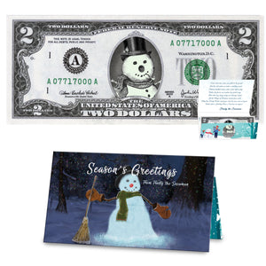 Frosty the Snowman 2.0 Dollar Bill Stocking Stuffer Complete Christmas Gift Package with Holiday Greeting Card. Affordable Christmas Gift