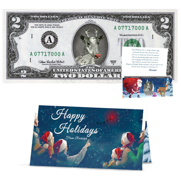 Rudolph 2.0 Dollar Bill Perfect Stocking Stuffer Complete Gift Christmas Gift Package with Holiday Greeting Card. Affordable Christmas Gift
