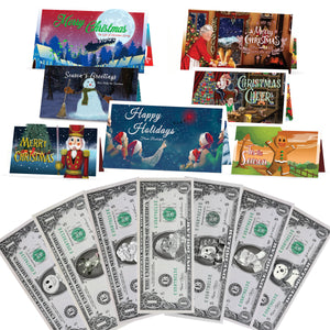 Christmas 1.0 USD Dollar Bill Complete Gift Package with Holiday Greeting Cards. Affordable Christmas Gift. 7 cards and 1.0 USD Dollar Bills