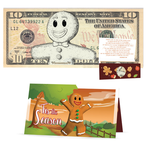 Gingerbread Man 10.0 USD Dollar Bill. Perfect Stocking Stuffer Complete Gift Christmas Gift Package with Holiday Greeting Card.