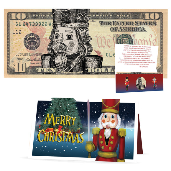 Nutcracker 10.0 USD Dollar Bill. Perfect Stocking Stuffer Complete Gift Christmas Gift Package with Holiday Greeting Card.
