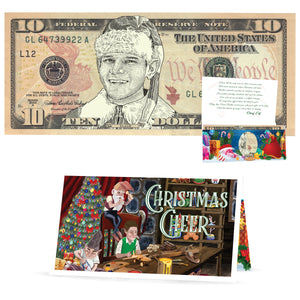 Santa's Elf 10.0 Dollar Bill Stocking Stuffer Complete Christmas Gift Package with Holiday Greeting Card. Affordable Christmas Gift