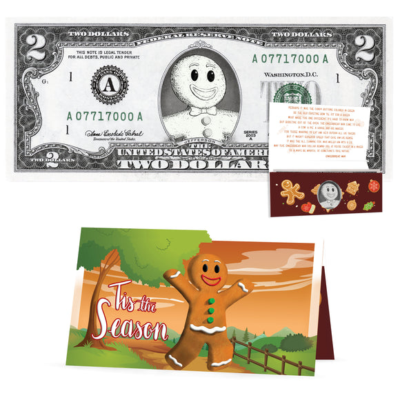 Gingerbread Man 2.0 USD Dollar Bill. Perfect Stocking Stuffer Complete Gift Christmas Gift Package with Holiday Greeting Card.