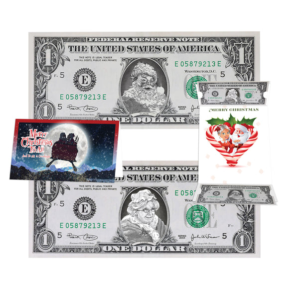 The Official Mrs and Mrs Claus Dollar Bill Combo Package. Real USD. Bankable and Spendable. perfect Holiday Stocking Stuffer.