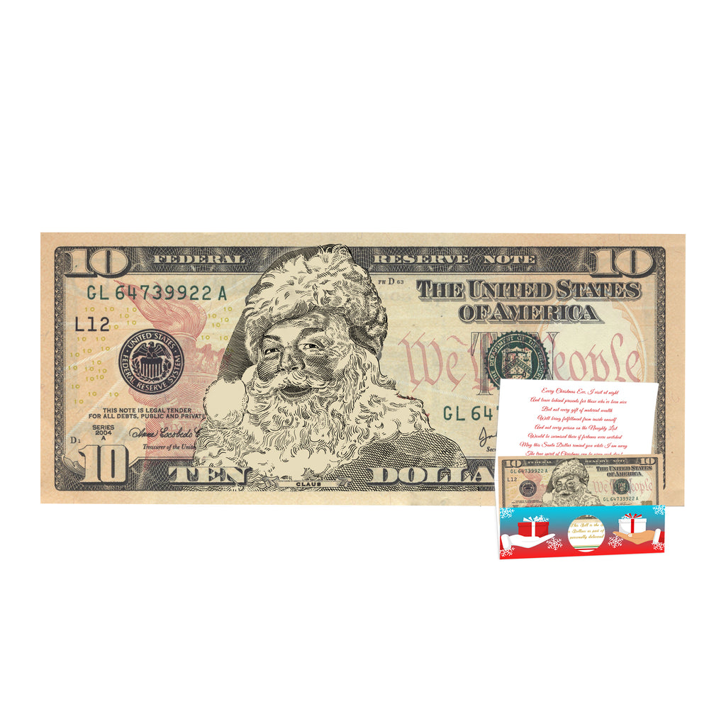 The Official Santa Claus 10.0 Dollar Bill. Real USD. Bankable and Spendable. Complete Santa Gift and Card