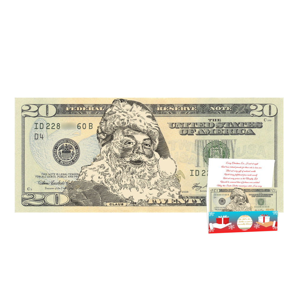 The Official Santa Claus 20.0 Dollar Bill. Real USD. Bankable and Spendable. Complete Santa Gift and Card
