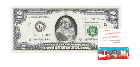 Official Santa Claus $2 Bill. Real USD. Bankable & Spendable. The Gift of Christmas Giving