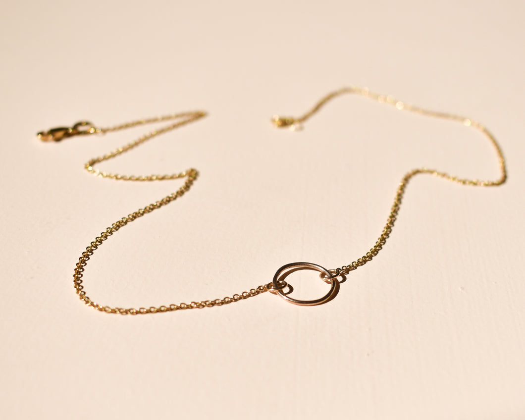 Delicate Gold Circle Necklace -  Short Circle Necklace