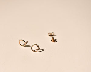 Tiny Circle Gold Studs - Recycled Gold Earrings