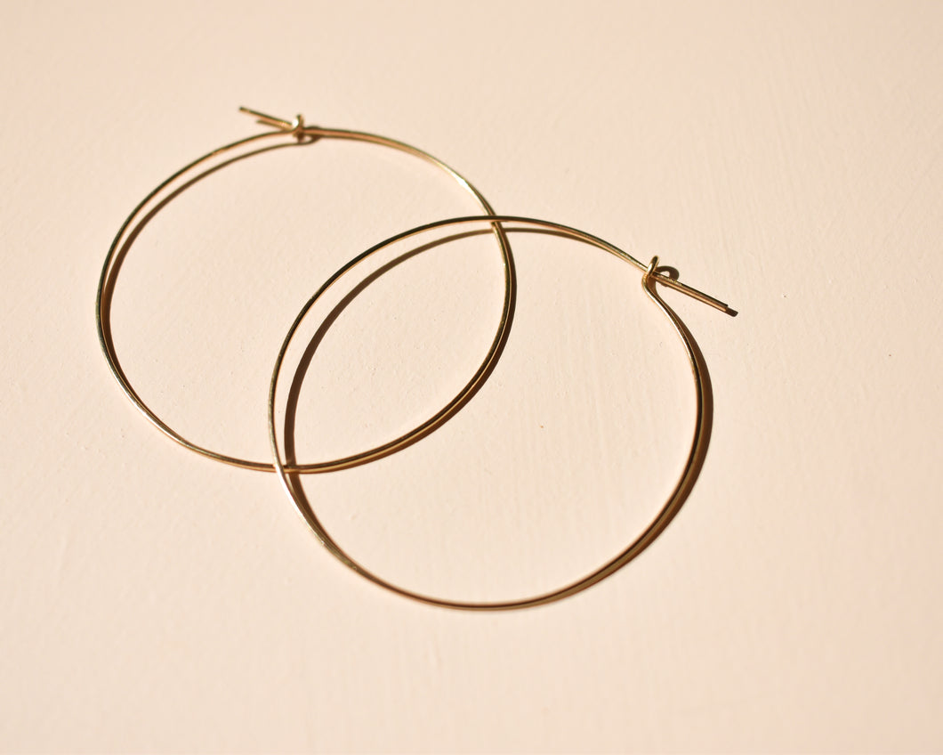 Large Gold Hoops - Recycled Gold Earrings