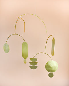 baby mobile, cot mobile, nursery decor, brass mobile, kinetic sculpture